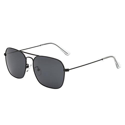 4e419eed3f ZHILE Square Aviator Sunglasses Polarized Lens for Men and Women 56mm ZH366  (Black
