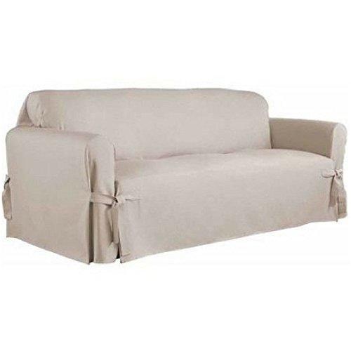 Serta Relaxed Fit Duck Furniture Slipcover, Sofa 1-Piece Box Cushion (Khaki)