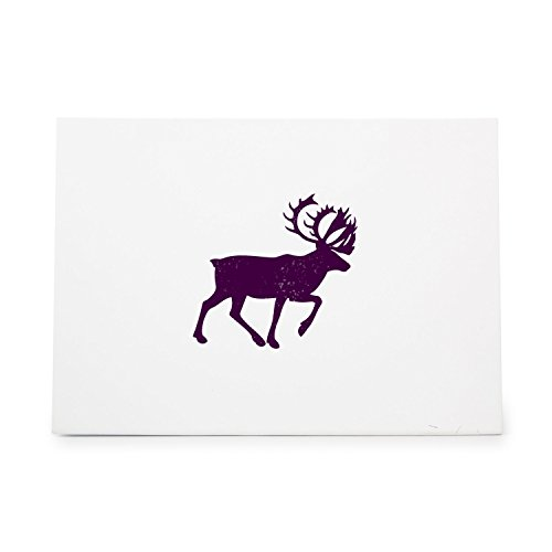 Silhouette Elk Rubber Stamp<br>Birch Wood Base and Handle