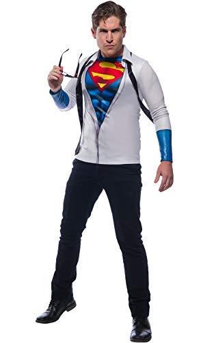 Clark Halloween Costume (Rubie's Men's DC Comics Photo Real Superman/Clark Kent Costume Top, as Shown,)