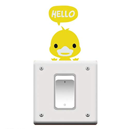 Cartoon Animal Light Switch Wall Stickers Decorative Bedroom Nursery Art Decals (Yellow Duck) Durable and Practical (Duck Yellow Nursery)