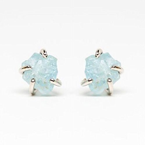 - 14k Gold Raw Aquamarine Earrings