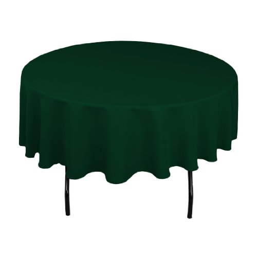 LinenTablecloth 90-Inch Round Polyester Tablecloth Hunter - Green Table Cover Round Hunter