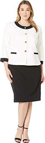 Tahari by ASL Women's Plus Size Crepe Framed Skirt Suit with Gold Finish Ivory White/Black 18 W