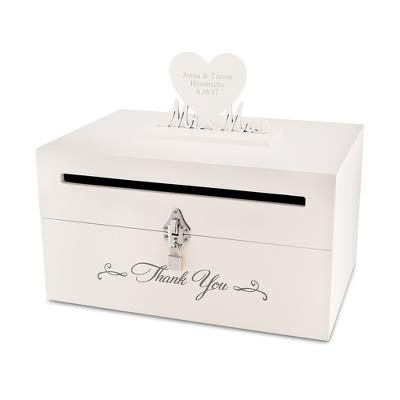 Things Remembered Personalized Mr and Mrs Mail Slot Wedding Card Box with Engraving Included -