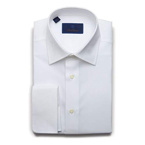 (David Donahue Mens Regular Fit Long Sleeve Micro Birdseye Dress Shirt, White, 15