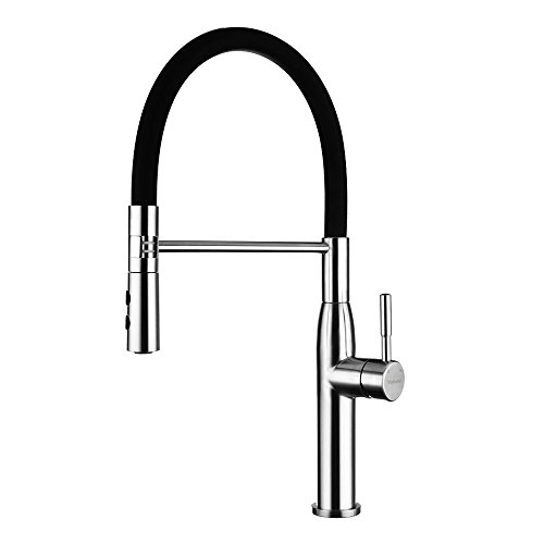 Yohom 304 Stainless Steel Kitchen Sink Faucets Single Handle with Pull Down Dual Function Sprayer,Modern Single Hole Faucet Brushed Finish, Black Silicone Hose Kitchen Sink (90 Series Faucet)