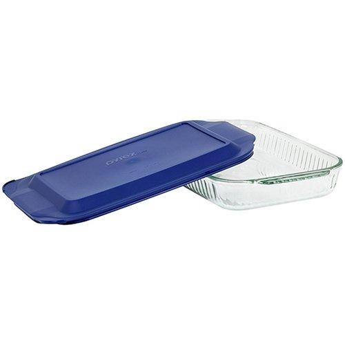 Pyrex Bakeware Sculptured 9-by-13-Inch Rectangular Baking Dish, Clear with Blue Lid
