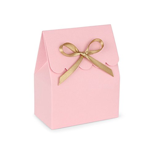 Pink Favor Boxes with Gold Satin Ribbon // set of (Sweet 16 Candy Buffet)