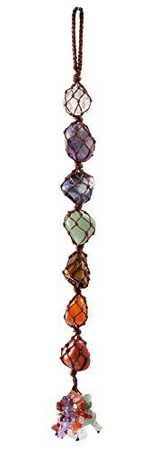 VadiForest 7 Chakra Gemstone Reiki Healing Crystals Hanging Ornament Tumbled Palm Stones Tassels Fengshui Home Indoor…