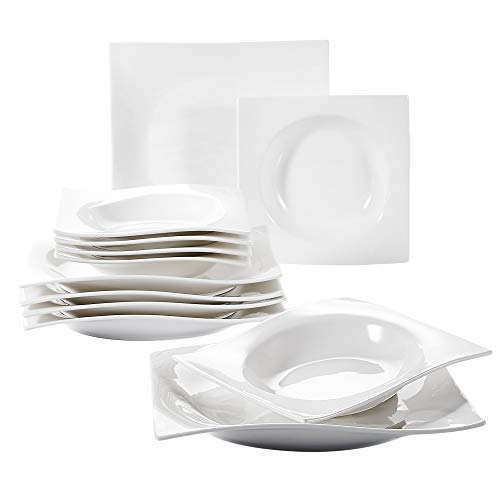 Vancasso 12-Piece Ivory White Porcelain Square Dinnerware Plate Sets of 8