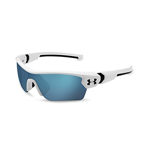 Under Armour Eyeking Boys Wrap UA Menace Satin White/Black Frame/Baseball Tuned Lens, ()