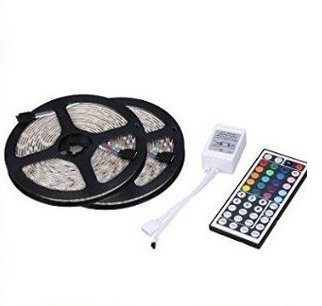 GenLed Two Rolls 32.8Ft 600LED 5050 SMD Waterproof Flexible Multicolor RGB LED Light Strip For Decoration + 44 Key Remote Controller 2016 good quanlity - Black Strip Light Aquarium Lighting