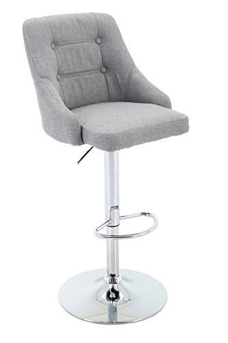 Round Back Swivel Stool - Brage Living Adjustable Height Tufted Upholstered Round Back Barstool with Footrest, Light Grey