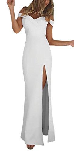 Vestidos Coctel Verano Sin Hombro Moda Bodas Fiesta Celebración Con Aberturas Largos Vestidos Vestido Sólido Noche De Para De Slim Blanco Mujer Color Gala Elegantes rwRr4q