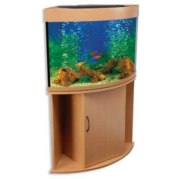 Penn Plax 36 Gallon Corner Aquarium Tank With Stand Beech
