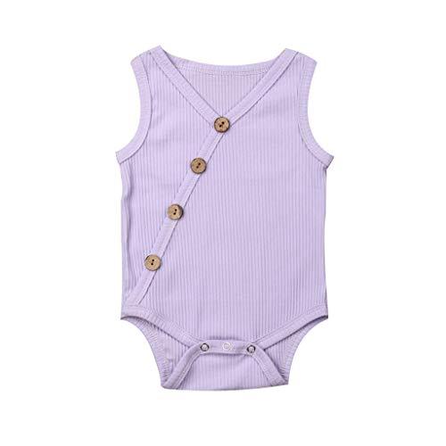 RoDeke Baby Girls Sleeveless Romper Set V Neck Solid Color Striped Button Jumpsuit Romper Bodysuit Sunsuit Outfits Set Purple