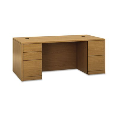 10500 Series Double Pedestal Desk, Full-Height Pedestals, 72w x 36d, Harvest, Sold as 1 Each -