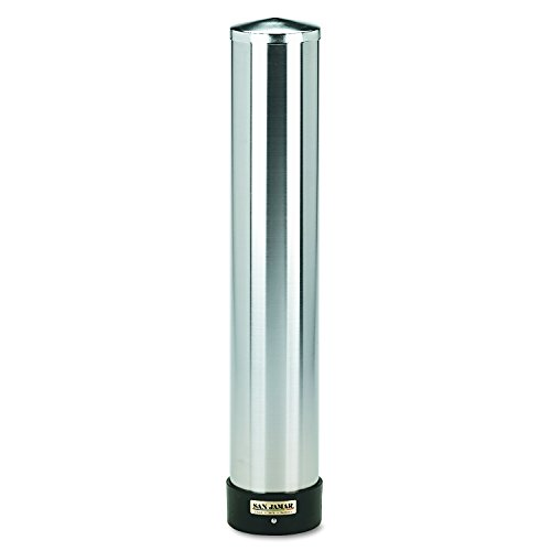 San Jamar C3400P 12-24 oz Stainless Steel Pull Type Beverage Cup Dispenser with Removable Cap (Pull Dispenser)