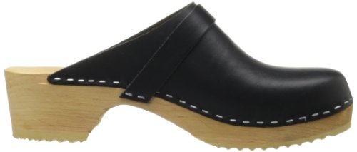 Hasbeens Womens Swedish Husband Leather Sandals Black