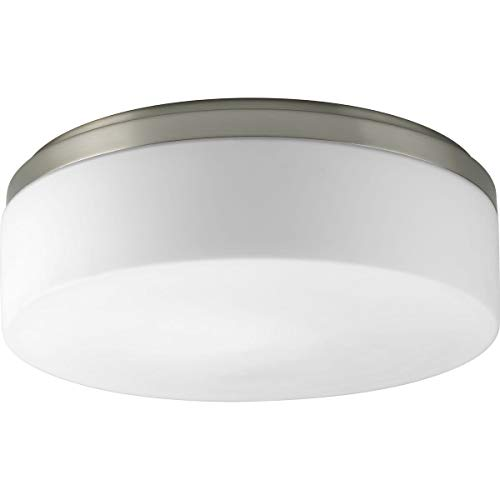 Etched White Opal Glass Diffuser - Progress Lighting P3911-09 2-Light Close to Ceiling with Etched White Opal Diffuser, Brushed Nickel