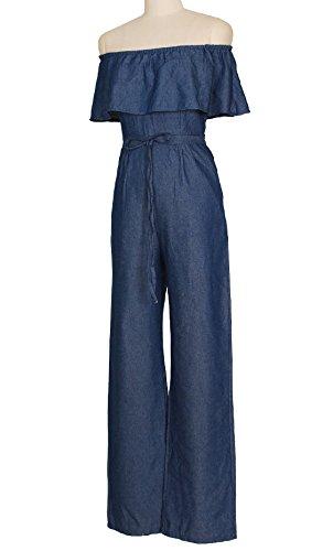 Casual Largo Alta Estilo Rückenfrei De Pantalones Cintura Monos Schulterfrei Aladin Mono Moda Fiesta Azul con Tiras Jeans Barco De Elegantes Cuello Pantalones Cremallera Pantalones Vaqueros Monos Verano aq7PgA