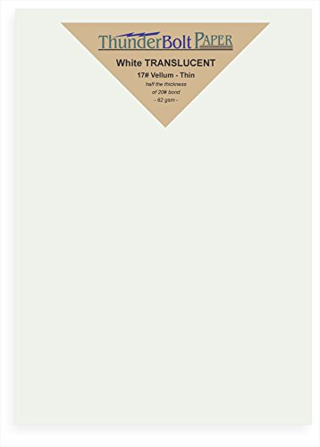50 Soft Off-White Translucent 17# Thin Sheets - 6'' X 8'' (6X8 Inches) 1'' Frame Around 5X7 Card Size - 17 lb/pound Light Weight Fine Quality Paper - Tracing, Fun or Formal Use - Not a Clear Transparent by ThunderBolt Paper