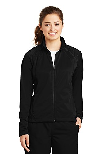 - Sport-Tek Women's Long-Sleeve Full Zip Polyester Athletic Running Tricot Track Jacket,X-Large,Black/black