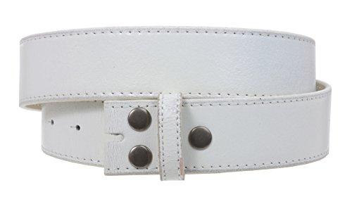 Genuine Belt White (Snap On Genuine Vintage Retro Stitching-Edged Distressed Leather Belt Strap Size: L 36 - 38 Color: White)