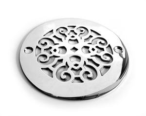 Designer Drains Polished Chrome Classic Scrolls No. 4 Round Decorative  Shower Drain Cover Grate
