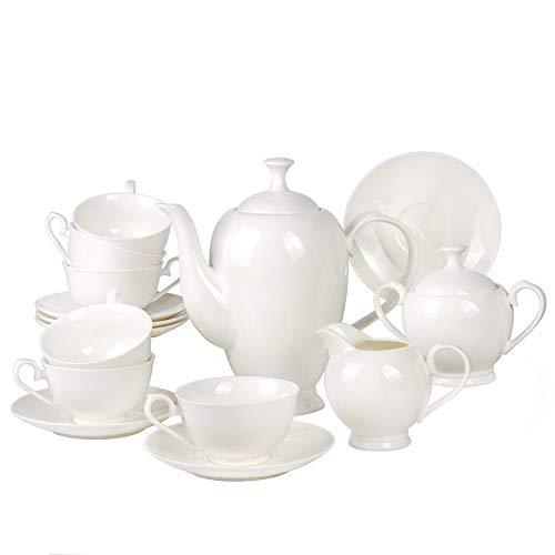 - Gzhel Indigo White 15 pc. Bone China Tea Set for 6 Persons