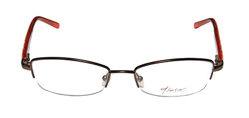 Thalia Felisa Womens/Ladies Rxable Hip & Chic Designer Half-rim Spring Hinges Eyeglasses/Eyeglass Frame (53-18-135, Brown / Orange / - Hip For Eyeglasses Men