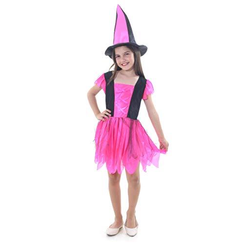 Fantasia Bruxa Encantada Infantil Sulamericana Fantasias Rosa/Preto M 6/8 Anos