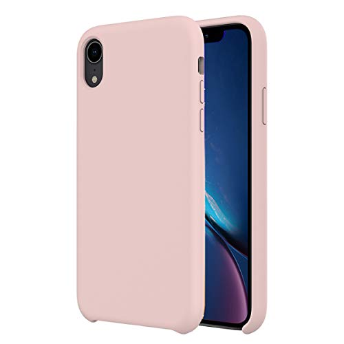 Orzero Liquid Silicone Gel Rubber Case for iPhone XR Full Shock Absorbing Ultra Slim Protective [Baby Skin Touch]-Pink