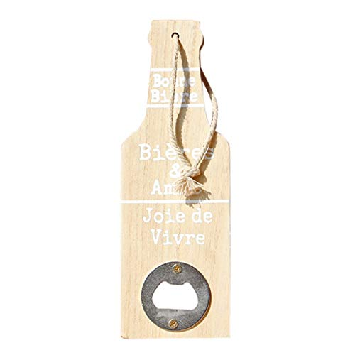 XQXCL Beer Bottle Opener Metal Wood Creative Hanging Wall Home Art Decoration 1pcs