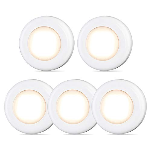 - Tap Light, Push Light, STAR-SPANGLED 4 LED Touch Light, Closet Light Battery Powered, Stick-on Anywhere Puck Lights with Traceless Adhesive for Cabinet, Stair, Bedroom, Kitchen (Warm White, 5 Pack)