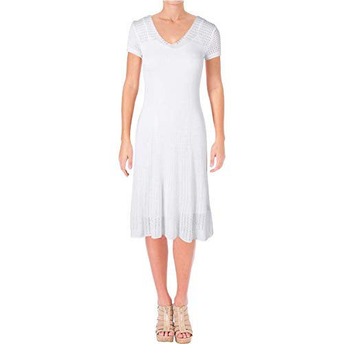Ralph Lauren Sundress - Lauren Ralph Lauren Women's Pointelle V Neck Sweaterdress, White, Small