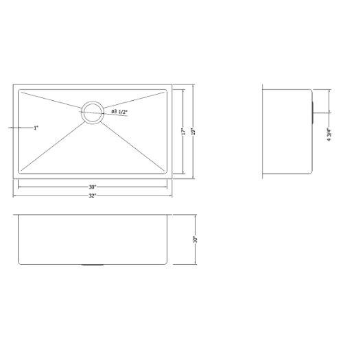 Ruvati 32-inch Gauge Tight Radius Sink Single Bowl