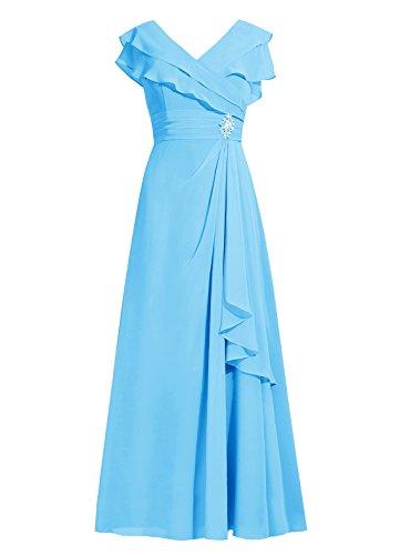 Dresstells®Vestido De Mujer Elegante Largo De Gasa Vestido De Boda De Fiesta Azul