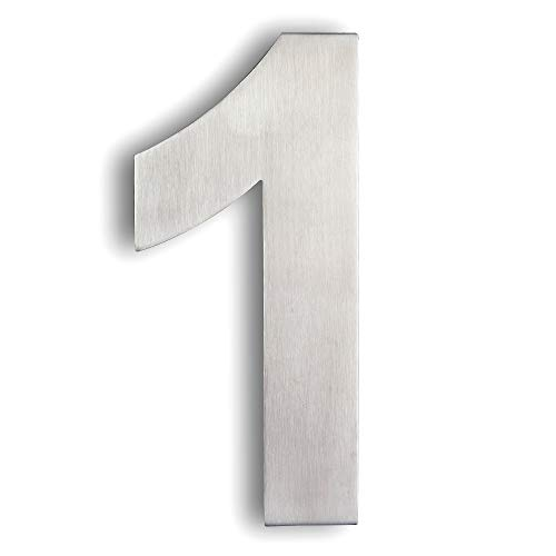 Mellewell Modern Floating House Numbers 6 Inch, Stainless Steel 18-8 Brushed Nickel, Number 1 One