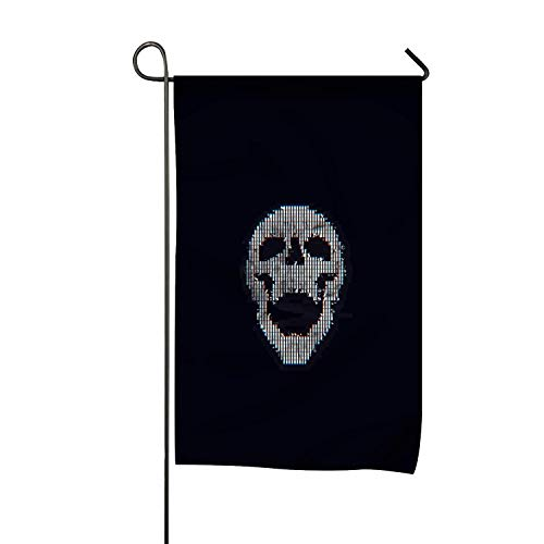 Niaocpwy Welcome Garden Flag Vertical Outdoor and Indoor Decorative Glitch Art Abstract ASCII Art Skull Double Sided Flag for Spring Summer Farm House