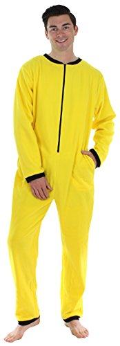 Yellow Long Sleeve Pajamas - Sleepyheads Men's Adult Non Footed Fleece Color Onesie Pajama Jumpsuit (SH2200-4032-MED), Yellow W-Black Zipper, Medium
