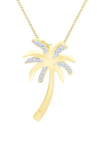s Sterling Silver Diamond Palm Tree Pendant Necklace on an 18 inch Chain ()