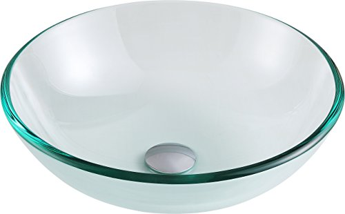 ANZZI Etude 16.5 in x 16.5 in Modern Tempered Deco Glass Clear Vessel Bathroom Sink | Lavatory Top Mount Installation Oval Toilet Sink | LS-AZ087 ()