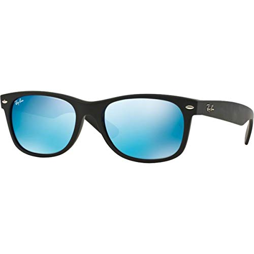 Ray-Ban RB2132 New Wayfarer Mirrored Sunglasses, Black Rubber/Blue Flash, 52 mm Authentic Ray Ban Sunglasses