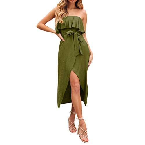 Aotifu Women's Summer Bohemian Sexy Strapless Halter Irregular Ruffle Dress Elegant Beach Skirt(Army Green,XL)