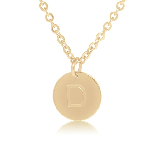 "Personalized Initial Locket - 18K Gold-Plated Round Disc Engraved Initial Pendant 18"" Adjustable Necklace with Personalized Alphabet Letter (D)"