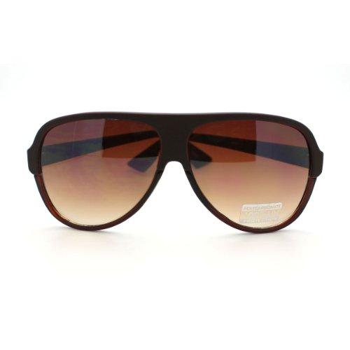 Brown Flat Top Retro Aviator Sunglasses Plastic Tear Drop Frame Unisex Fashion