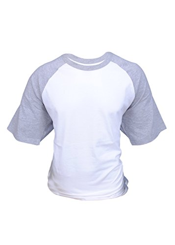 Tone Raglan T-shirt (ILTEX Mens Raglan Short Sleeve Baseball T-Shirts (Large, White/Heather-Grey))