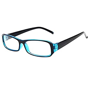 FancyG® Vintage Inspired Classic Rectangle Glasses Frame Eyewear Clear Lens - Blue
